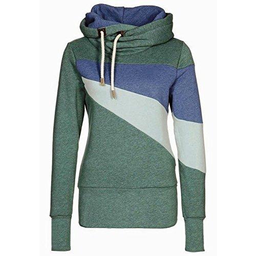 ASCHOEN - Sudadera para mujer, algodón, con capucha azul oscuro