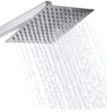 BWE Stainless Steel Shower Head - Rain Style Showerhead, Waterfall Effect, Elegantly Designed, High Polish Chrome, 8-inch Diameter, Ultra Thin, teflon tape included
