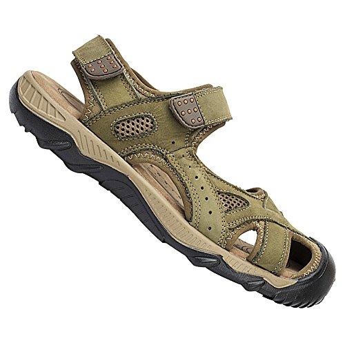 rismart Homme Bout Fermé Été Crochet Et Boucle De Plein air Randonnée Cuir Chaussures Sandales Armée Verte WqpifWv3