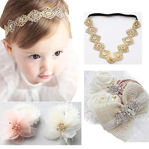 DANMY Baby Girl Rhinestone Crown Headbands Toddler Princess Headband Hair accessories (2PCS) (set4 (as Shown)