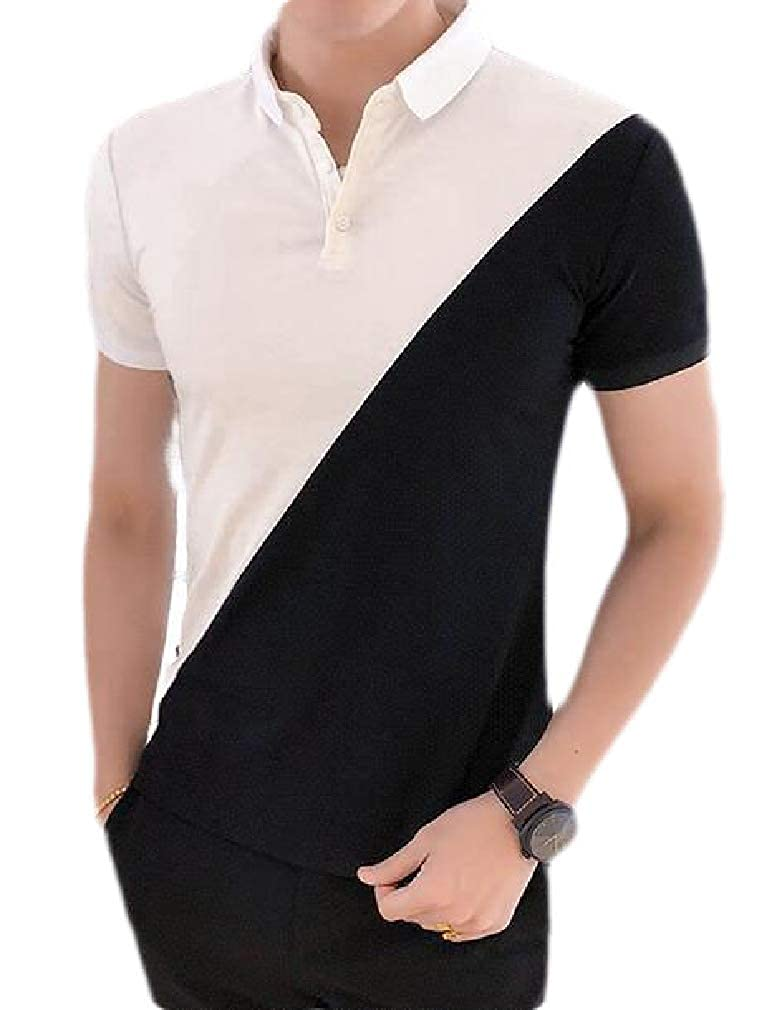 Hajotrawa Men Summer Short Sleeve Casual Color Block Polo Shirts Tops T-Shirt