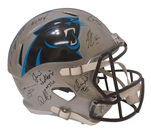 - 2017 Carolina Panthers Team Autographed Hand Signed Riddell Full Size Speed Style Football Helmet with 26 Signatures Total, Exact Proof Photos of Signing, COA, Ron Rivera, Thomas Davis, Devin Funchess