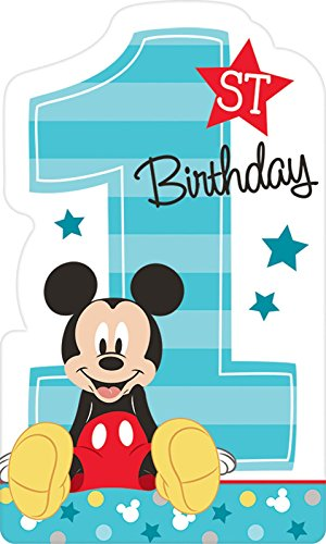 Balloon Birthday Invitations (American Greetings Mickey Mouse 1st Birthday Invite Postcards (8 Count))