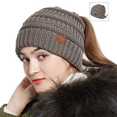 Stretch Cotton Beanie (Bodvera Women's Ponytail Messy Bun Cotton Beanie Winter Warm Stretch Cable Hat Thick Knit Cuff Skull Cap)