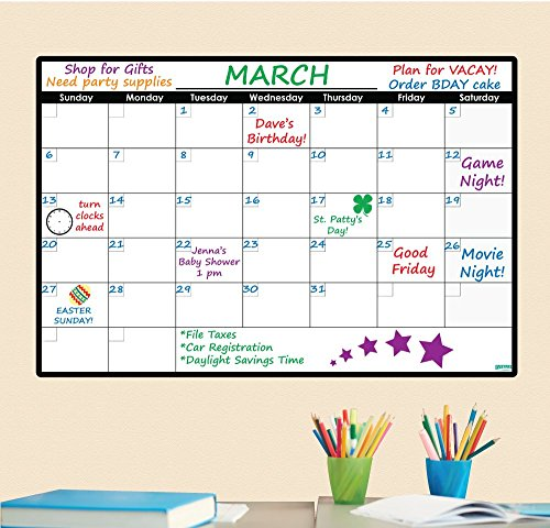 - Everase Re-Stic Dry Erase Self-Adhesive Peel & Stick Monthly Calendar | Wall Planner (24 x 36 in.) FREE Marker & Cloth | Organizer, Walls, Doors, Offices | Premium Quality Removable Decal