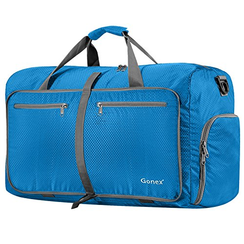 Gonex 80L Packable Travel Duffle Bag, Large Lightweight Luggage Duffel (Blue) by Gonex