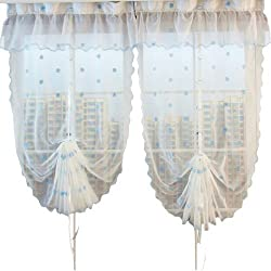 ZHH Handcrafted Fresh Flora Flowers Embroidered Sheer Roman Shade Curtain