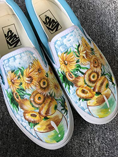 - Vincent Van Gogh Sunflowers Vans Authentic Custom Shoes Vans Authentic Custom Hand Painted Shoes Hand Painted Vans Authentic Custom Vans Sneakers FREE SHPPING