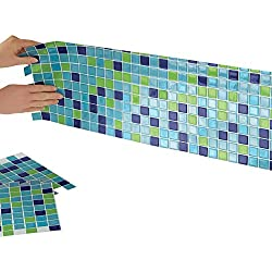"Mosaic Peel & Stick 10"" x 10"" Backsplash, Kitchen, Bathroom, DIY Wall Tiles - Set Of 6, Blue-Green"