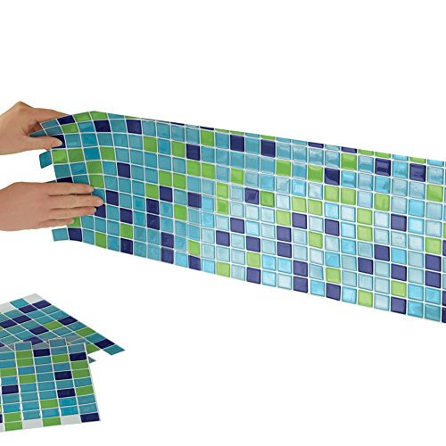 Mosaic Backsplash Tiles Set Blue Green
