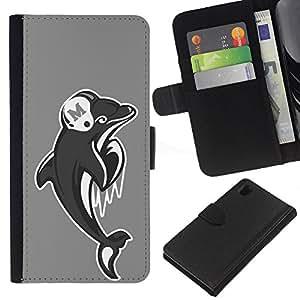 EJOY---La carpeta del tirón la caja de cuero de alta calidad de la PU Caso protector / Sony Xperia Z1 L39 / --Miami Dolphin Fútbol