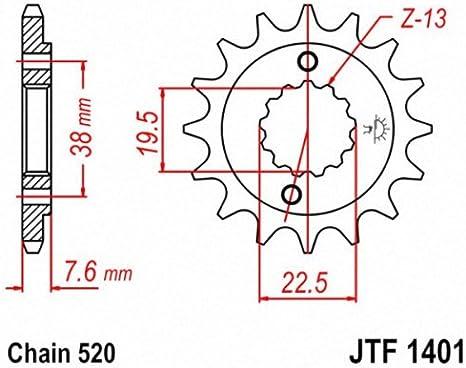 JT Sprockets Pi/ñ/ón 13 Dientes Acero Est/ándar Paso 520 Tipo 1401 Suzuki LT-R450