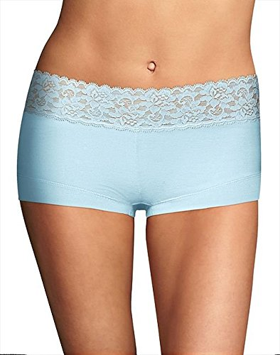 (Maidenform Pure Genius Boyshort Panty (40859) 7/Blue Whimsy)