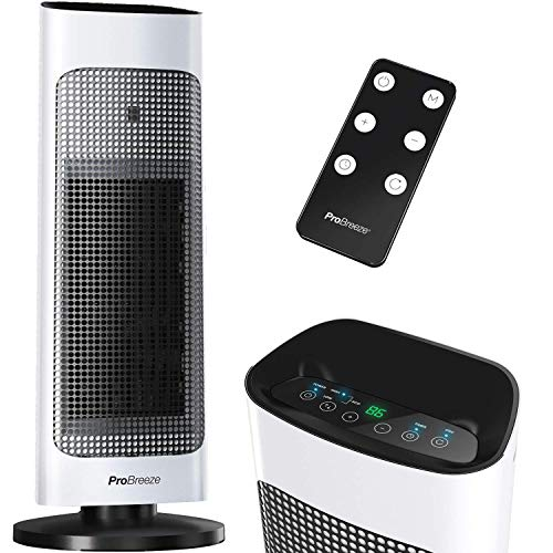 Pro Breeze Space Heater with Digital LED Display, 1500W Tower Heater with Remote Control, Energy Efficient ECO Mode, 80° Oscillation, 24hr Timer, Adjustable Thermostat for Office, Bedroom and Home