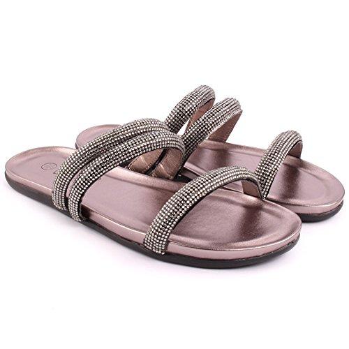 Unze Frauen Rubie Flach Verziert Sommer Pantoffeln Party-Abschlussball Zusammen Brunch Karneval Hochzeit Abend Slip-On Sandalen Schuhe Größe 3-8 - F613-1 Zinn