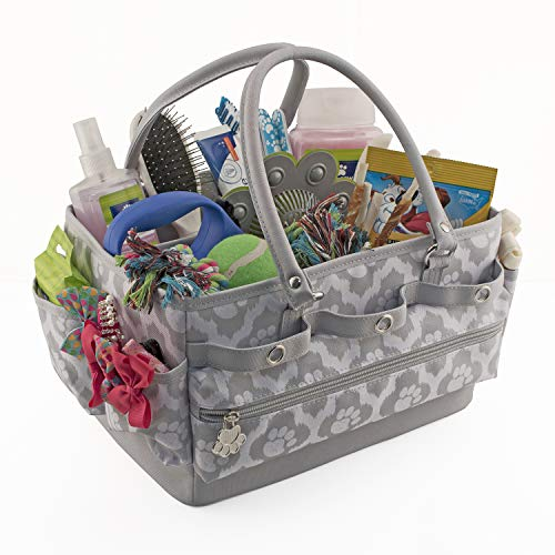 Everything Mary Pet Essentials Caddy - Deluxe Premium Pet Organizer Storage Tote Bag Bin for Treats Car Toy Dog Food & Accessories
