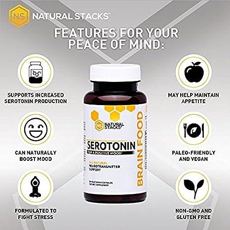 Natural Stacks Suplemento comida de cerebro - serotonina cerebro alimentos (60 cápsulas) - promueve la producción sana de la serotonina: Amazon.es: Salud y ...
