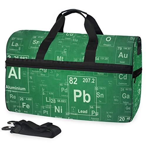 Duffle Bag Periodic Table Of Elements Gym Bag with Shoe Compartment Sport Bag for Men Women -