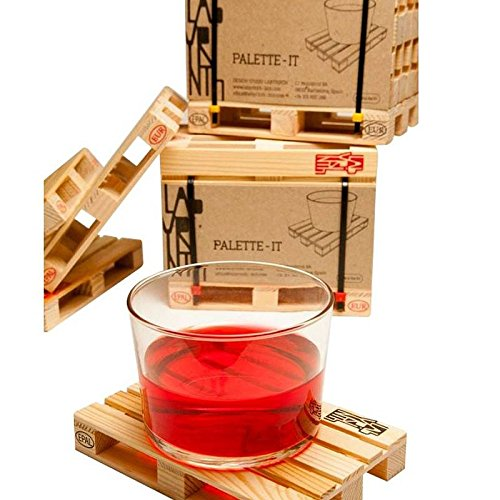 1 Set Home Miniature Pallet Wood Beverage Coasters Drink Wine Glasses Beer Bottle Whiskey Glass Cup Mat Hot DrinksTable (Victoria Mahogany Jewelry)