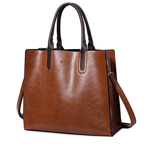 Brwon Leather (B&E Life Stylish Women Pu Leather Vertical Utility Top Handle Handbag Satchel Tote Purse Bag (brwon 1))