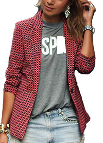 Papijam Womens Plaid Slim One Button Lapel Office Blazer Jacket Coat Red L