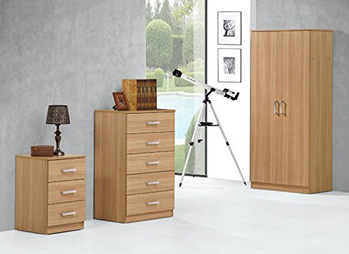 Comfy Living Stylish Oak Effect Trio Set Wardrobe 5 Drawer Chest 3 Drawer Bedside