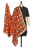Weavers Villa Punjabi Hand Embroidery Phulkari Faux Chiffon Red Dupatta, Stoles