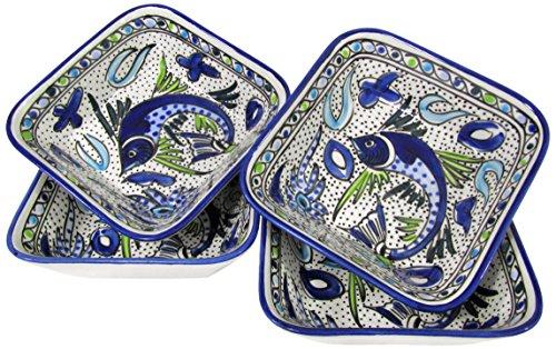 Aqua Fish (Le Souk Ceramique AF38 Stoneware Square Pasta/Salad Bowls, Set of 4, Aqua Fish)