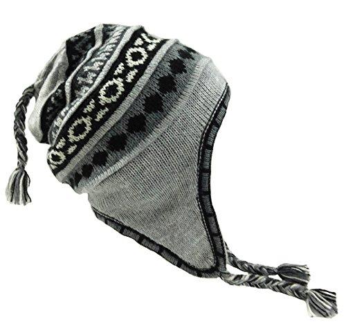 (Alpaca Hat with Earflaps 100% Lining (Light Gray))