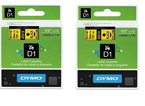 DYMO 45018 D1 Tape Cartridge for Dymo Label Makers, Created Specifically for Your LabelManager and LabelWriter Duo Label Makers, 1/2-inch x 23 Feet, Black on Yellow, Pack of 2