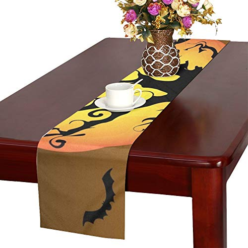 WHIOFE Silhouette Halloween Graveyard Table Runner, Kitchen Dining Table Runner 16 X 72 Inch for Dinner Parties, Events, Decor