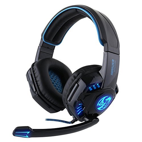 Dreamyth Fantastic Noswer Professional Gaming Headset LED Light Earphone Headphone with Microphone (Black)