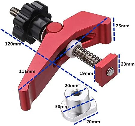 un known Red Quick Acting Hold Down Clamp Aluminum Alloy T-Slot T-Track Clamp Set Woodworking Tool for Woodworking Table Accessory Electronic Accessories