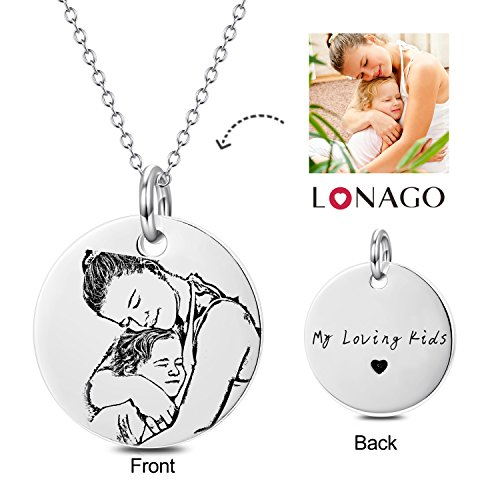 Engraved Heart Tag Necklace (Personalized Photo Necklace Custom Engraved Necklace Pendant Back and White Color Sterling Silver Gifts (sterling sliver, 18))