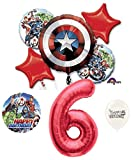 6th Birthday Red Number Avengers Captain America Shield Balloons Bouquet Bundle
