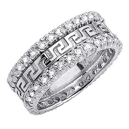 1.86ct TDW White Diamonds Platinum Designer Women's Wedding Band (G-H, SI1-SI2) (8mm) Size-5c4