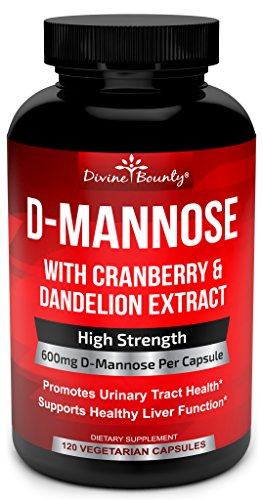 D-Mannose Capsules - 600mg D Mannose Powder per Capsule with Cranberry and Dandelion Extract for Natural Urinary Tract Infection and UTI Support - 120 Veggie Capsules