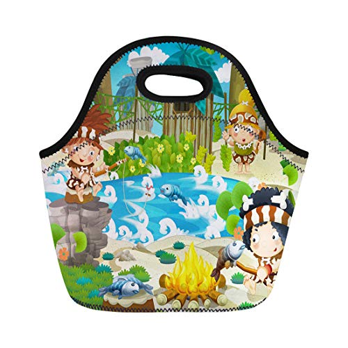Semtomn Lunch Bags Caveman Ancient the Stone Age for Children Animal Jungle Neoprene Lunch Bag Lunchbox Tote Bag Portable Picnic Bag Cooler Bag]()