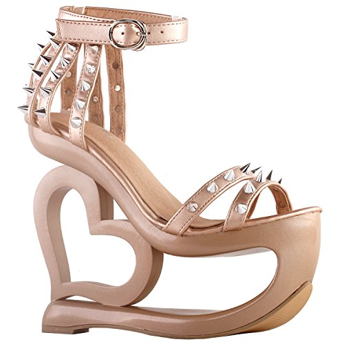 Evening Black Strappy Show Beige Wedge Sandals LF40204 Spikes Punk Heart Heel Story Peachy 8EExHwqT