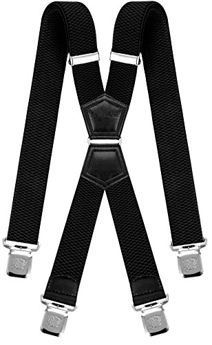 Mens Suspenders X Style Very Strong Clips Adjustable One Size Fits All Heavy Duty Braces (Black)