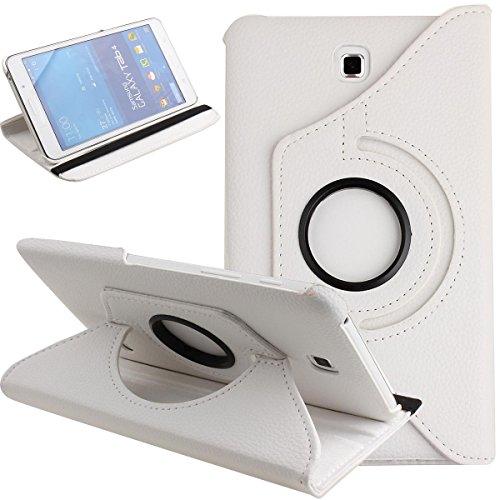 Galaxy Tab 4 7.0 Case,Flip Case for Galaxy Tab 4 7-inch Tablet,Folio Nook PU Leather 360 Degree Swivel Stand Case Cover for Samsung Galaxy Tab 4 7-inch Tablet T230 /T231/ T235,White (Poetic Samsung Tab 4 7)