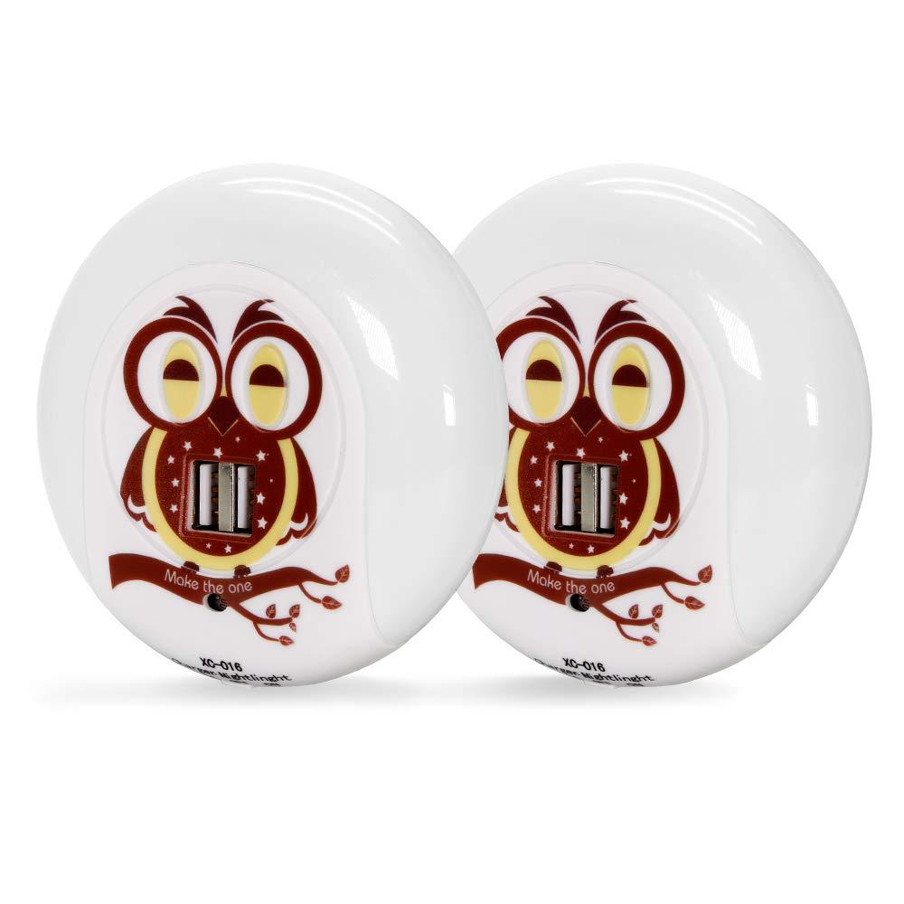 Plug in Night Lights, Cute Owl Dual USB Outlet LED Nightlight Dusk to Dawn Sensor Wall Lamp Charger Station Búho Decor Good Night Light for Kids Sleep Bedroom Living Room Office (2 Packs Warm White)