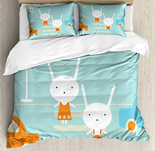 Lincoln Road Halloween Time (Millxiu 4 Piece Bedding Set Lightweight Soft Duvet Cover Set Traffic Rules Boy Girl Rabbits Crossing The Road Educational Kids Cartoon Zipper Closure & Ties Easy Care for Bedroom Multicolor)