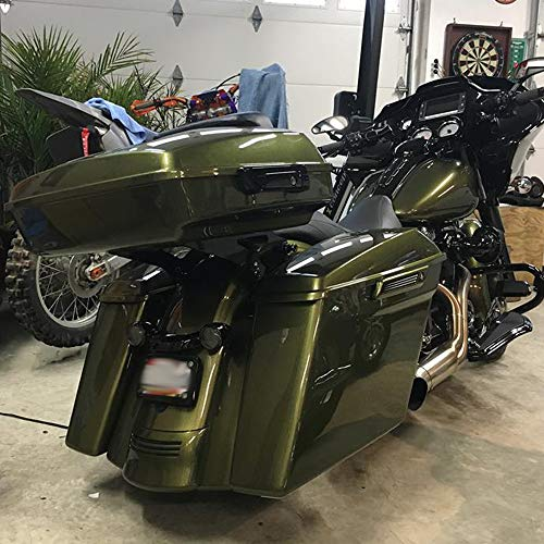 Olive Gold 4 1/2 INCH Extended Saddlebags Stretched Hard Saddlebags Dual Uncut Bottoms Fit for Harley Touring Road King Street Glide FLHX 2014-2018 ()