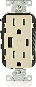 Leviton T5633-I 15-Amp Type A & Type-C USB Charger/Tamper Resistant Outlet, Compatible with Apple Devices, Samsung Devices, Google Devices and More – Not for Laptops, Ivory