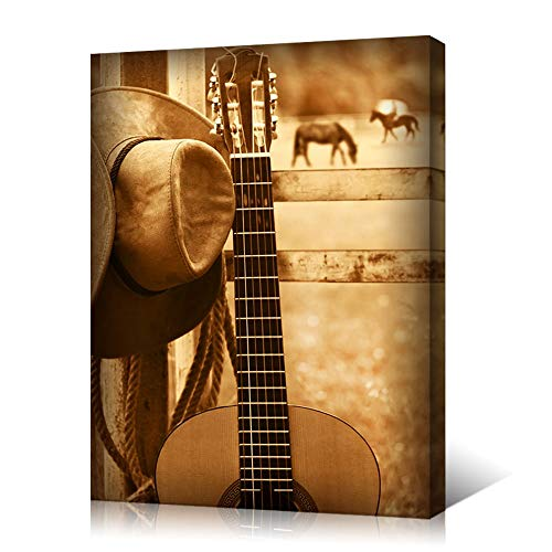 (VVOVV Wall Decor -Guitar And Cowboy Hat Canvas Wall Art - Western Farm Scene Country Style Posters Retro Art Print for Home Decoration Stretched And Framed Ready To Hang 1)