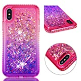 iPhone Xs Case, iPhone X Clear Liquid Glitter Case Color-Gradient Bling Shiny Glitter Sparkle Flowing Moving Hearts Diamonds Frame Ultral Slim Shock Absorbtion TPU Rubber Bumper Cover for iPhone Xs