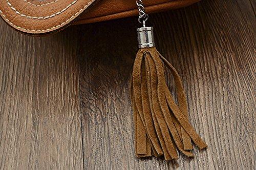 Brown bag Women's Tassels Bag PU Crossbody Flap QZUnique 2 Hobo Shoulder Saddle Medium fwPnqx