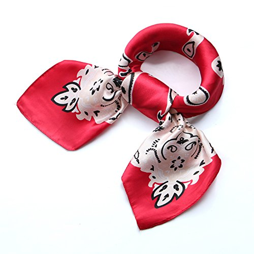 (Womens Red Paisley Square Satin Silk Sleeping Neck Head Hair Scarf Wraps Bandana)