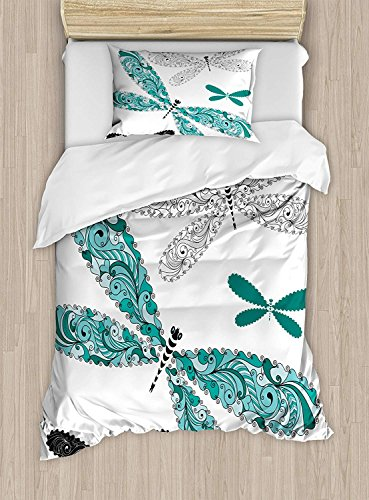 Twin XL Extra Long Bedding Set,Dragonfly Duvet Cover Set,Ornamental Dragonfly Figures with Lace and Damask Effects Artsy Image,1 Comforter Cover 1 Bed Sheets 2 Pillow Cases,Teal Turquoise Black